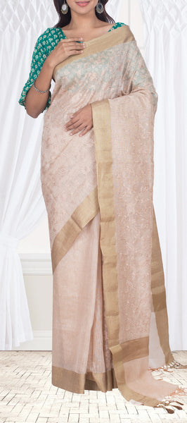 Cream semi kora silk saree