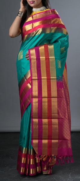 Tuquoise Blue Kanchipuram Silk Saree
