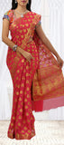 Tomato Red Semi Chiffon Saree