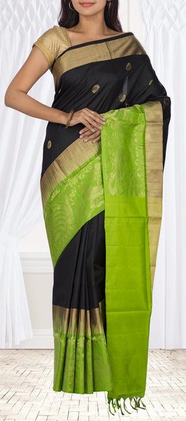 Black & Green Soft Silk Saree