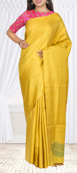 Pineapple Yellow Pure Soft Silk Saree