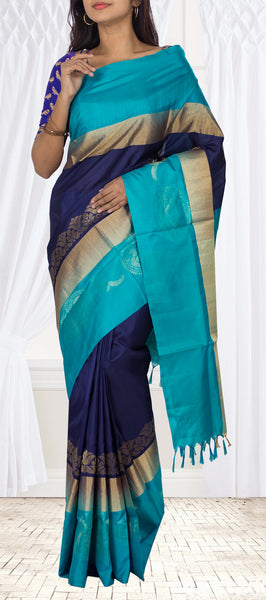 Navy Blue & Teal Blue Soft Silk Saree
