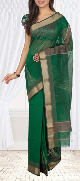 Dark Green Maheshwari Cotton Saree With Jute Mix