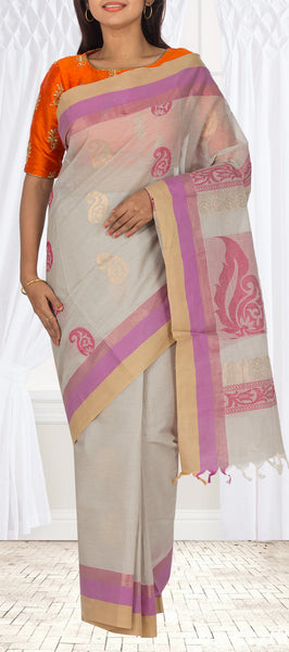 Grey Maheshwari Cotton Ethnic Saree
