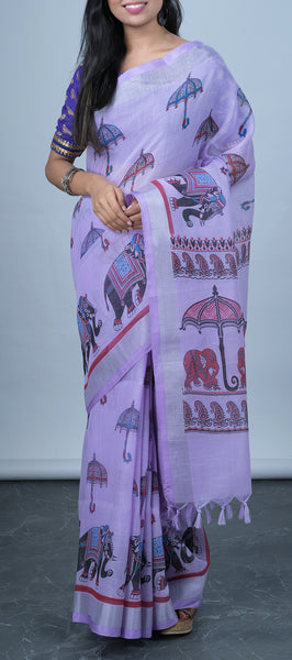 Lavendar Linen Saree with Block Prints