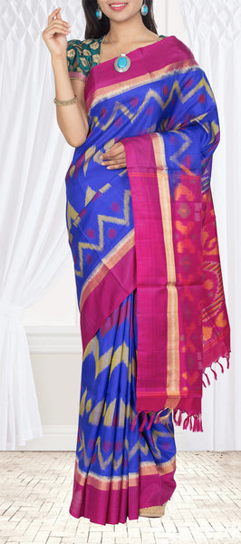 Royal Blue & Magenta Soft silk Saree