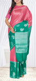 Teal Green & Pink Pure Tussar Silk Saree