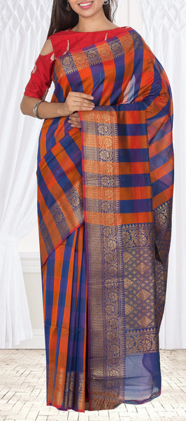 Orange & Dark Blue Semi Silk Cotton Casual Saree With Copper Zari