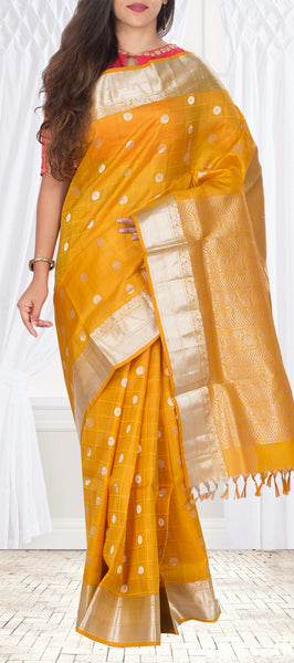 Mustard Lightweight Kanchipuram Silk Saree