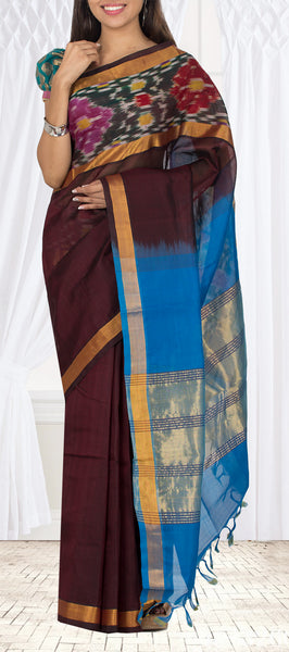Maroon & Blue Silk Cotton Casual Saree