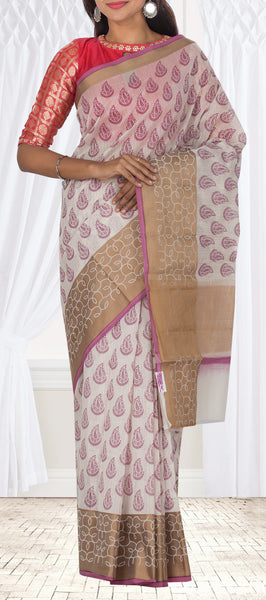 Off White Black Printed Summer Cotton Saree