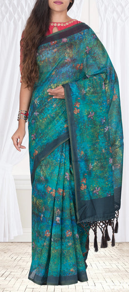 Sea Blue Casual Printed Silk Saree