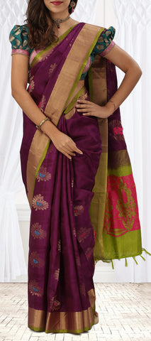 Purple & Green Soft Silk Saree