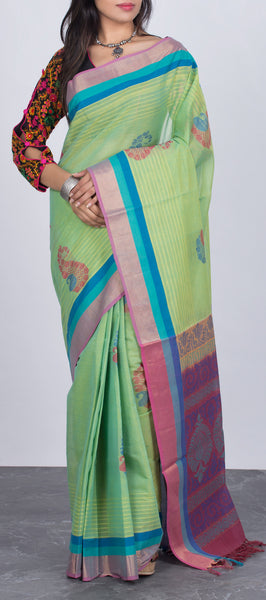 Green Ethnic Cotton Saree