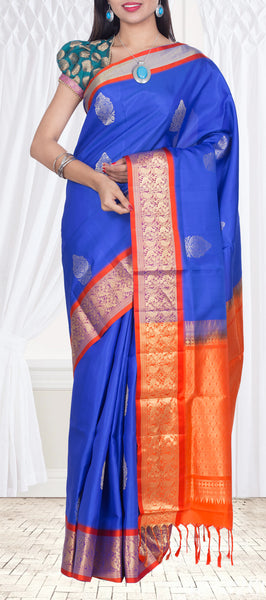 Royal Blue & Orange Soft Silk Saree — Diwali Collection