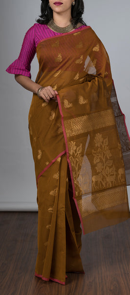 Borderless Brown Semi Silk Cotton Saree