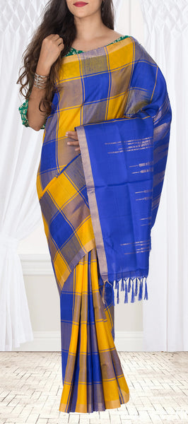 Tumeric Yellow & Teal Blue Soft Silk Saree With Jute Finish