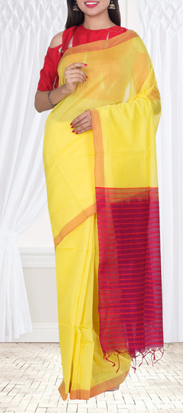 Neon Yellow & Magenta Saree — Diwali Collection