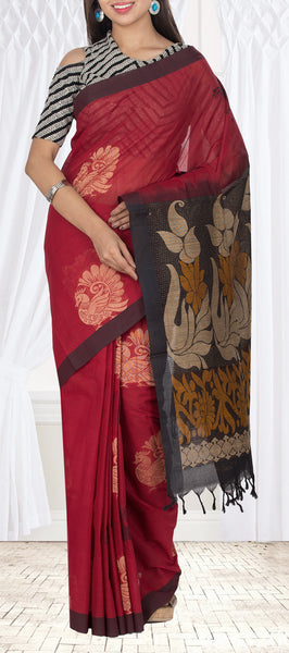 Maroon & Black Maheshwari Cotton Saree
