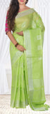 Parrot Green Ethnic Linen Saree