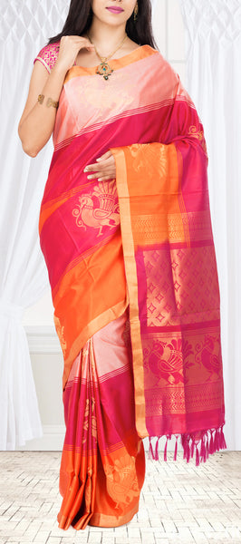 Pink & Orange Soft Silk Saree
