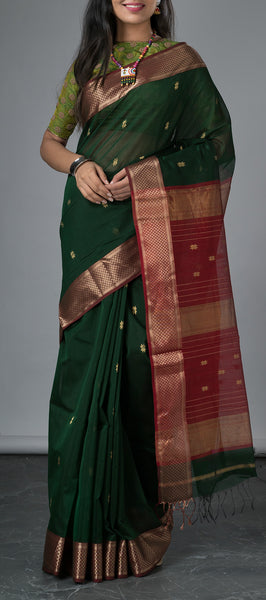 Traditional Green Silk Cotton Saree
