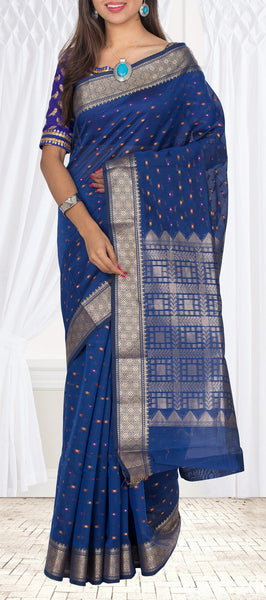Midnight Blue Semi Benarasi Casual Saree