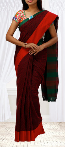 Maroon, Red & Green Embossed Summer Cotton Saree