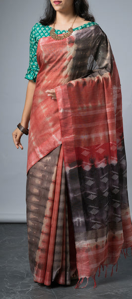 Linen saree with Tye and Dye Prints