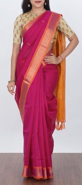 Pink Traditional Silk Cotton Saree