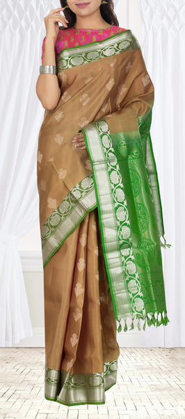 Moss Brown & Dark Green Soft Silk Saree