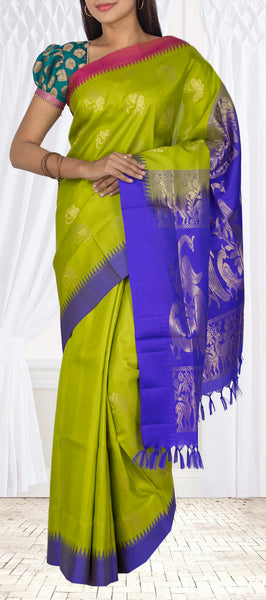 Parrot Green, Dark Blue & Magenta Lightweight Kanchipuram Silk Saree