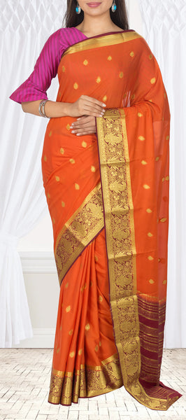 Burnt Orange & Dark Maroon Semi Chiffon Casual Saree