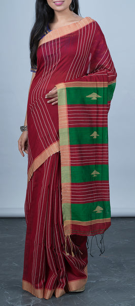 Maroon Simple Cotton Saree