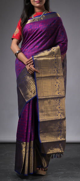 Purple traditional kanchipuram silk saree