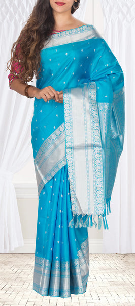 Light Blue Soft Pure Kanchipuram Handloom Silk Saree
