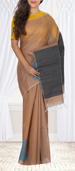Unique Fawn & Black Silk Cotton Saree with Jute Pallu