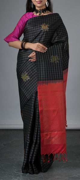 Borderless Black Soft Silk Saree