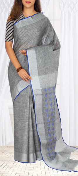 Light Grey Semi Linen Saree