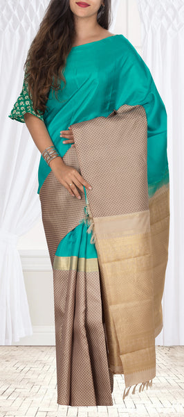Turquoise Blue & Beige Pure Kanchipuram Handloom Silk Saree With Half Fine Zari