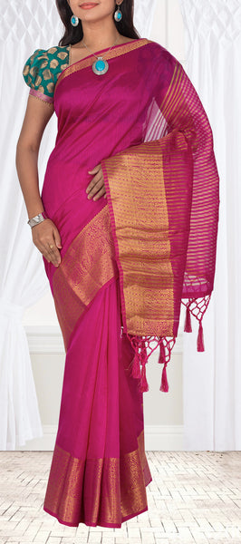 Dark Pink Semi Tussar Casual Saree