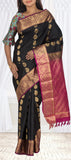 Black & Magenta Lightweight Kanchipuram Handloom Silk Saree