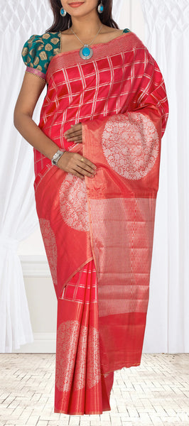 Dark Pink Pure Tussar Silk Saree