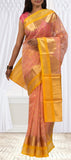 Pink And Yellow Silk cotton Saree