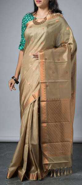 Moss Brown Softsilk Saree with Copper Zari