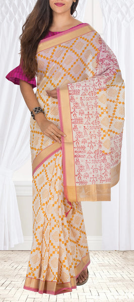 Off-White Semi Silk Cotton Casual Saree
