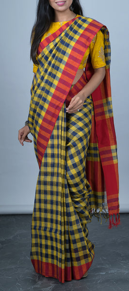 Yellow and Dark Blue Linen Saree with Checks