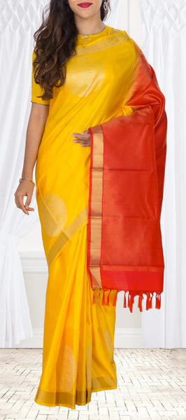 Yellow & Red Pure Kanchipuram Handloom Silk Saree With 1G Zari