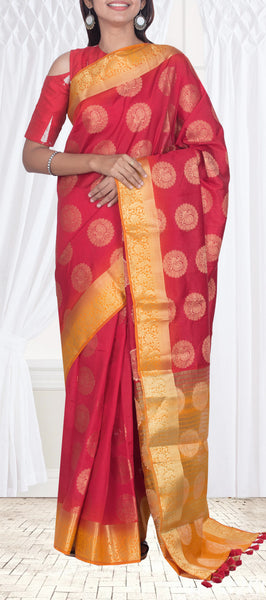 Red & Mustard Semi Benarasi Saree