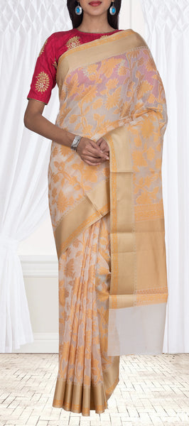 Cream Organza Casual Saree